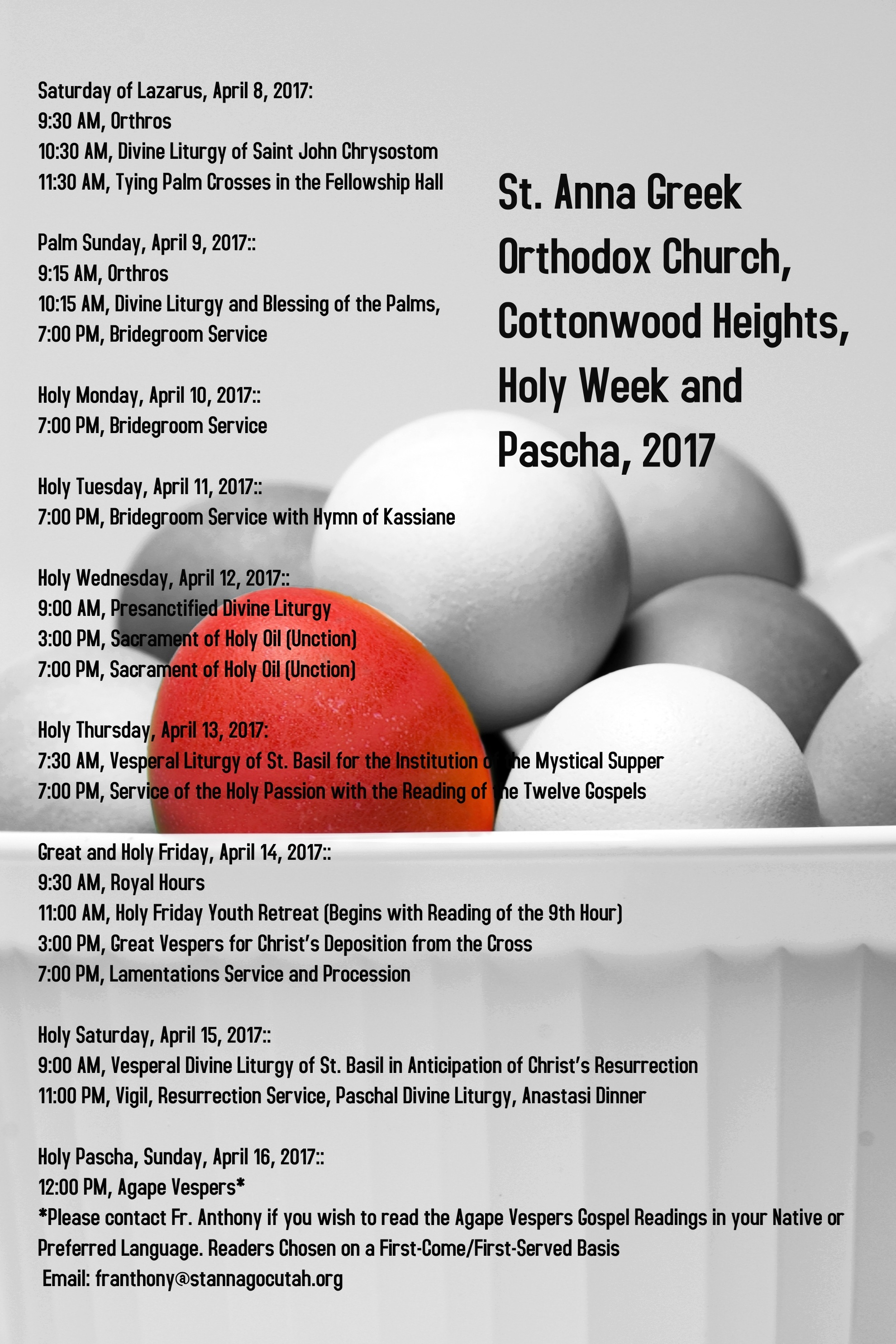 Holy Week and Pascha Schedule 2017